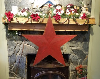 Rustic Barn Star, 3 Foot Red, 10 Separate Cuts Local/Reclaimed Wood, Cabin Decor
