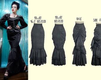 Black Cotton Single Bustle Skirt  - Ready To Ship