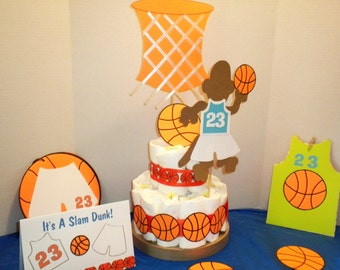 Diaper Cake, Baby Boy Diaper Cake, Basketball Diaper Cake, Boy Diaper Cake,Basketball Cake,Shower Decoration, Cake Centerpiece-MBDC-1