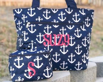 Anchor Canvas Bag, Toiletry Bag, Cosmetic Bag, Perfect Travel Set, Tote Bag, Bridesmaid Gift, Navy Beach Bag, Personalized Tote