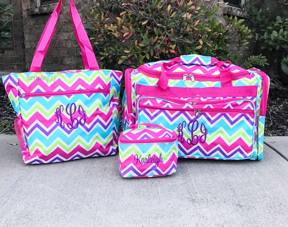 Rainbow DUFFLE Bag Pink Duffle Bag Chevron Luggage Girls