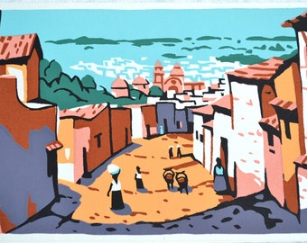 Vintage Stationery Note Card - Screen Printed Mexican Village - Mid Century Blank