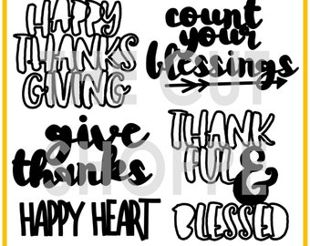The Give Thanks cut file set includes 5 phrases, that can be used for your scrapbooking and papercrafting projects.