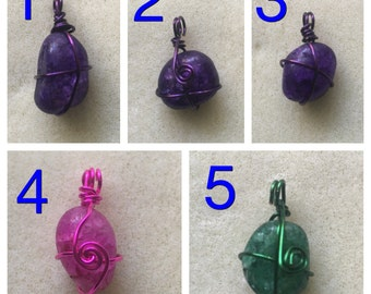 Small Rock Wire Wrapped Pendants