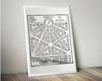 "Detroit 1800s Vintage Map Silkscreened Art Poster Print 19"" x 25"""