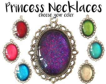 Princess Kids Necklace, Glitter Necklace, Kid Necklace, Kids Jewelry, Princess Pendant, Princess Jewelry, Child Necklace