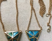 "Triangle pendant on 15"" gold chain with green or turquoise blue kombucha"