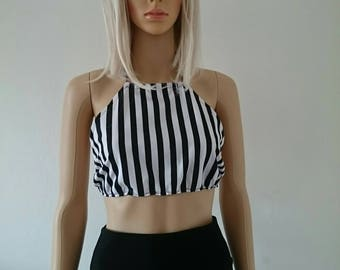 Black and white candy stripes halterneck top
