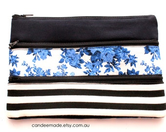 Adorable Pencil case/ Makeup Bag With Three Pockets and Black Zippers, 20.5cm x 14cm