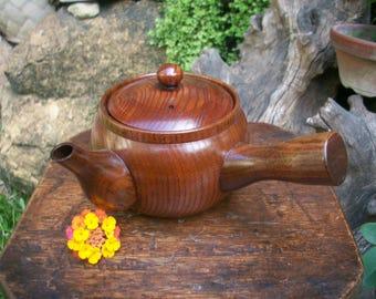 1960s Japanese Unique Yakusugi Cryptomeria Cedar Wood Yokode Kyusu Teapot 180 ml.
