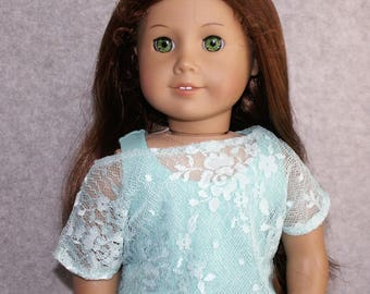 Mint or Rainbow Lace Off the Shoulder Top fits American Girl Doll