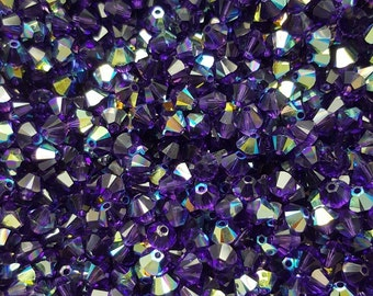 Swarovski 4mm Bicone Faceted Crystal Beads - Purple Velvet AB - Select 10, 20, 50 or 100