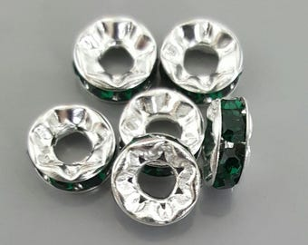 8mm Rhinestone Rondelle, Silver with Emerald Crystals, made in Czech Republic - 6 Pieces