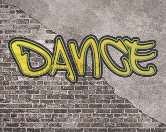 Graffiti Brick GBW002 - Graffiti Brick Dance 2 on Glare Free Vinyl 7' wide by 5' tall