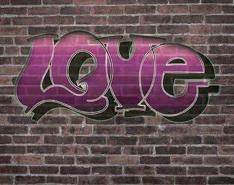 Graffiti Brick GBW012 - Graffiti Brick Love 2 on Glare Free Vinyl 7' wide by 5' tall