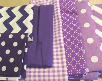 Purple Fabric Bundle, Remnant Fabric Bundle,  quilting fabric, craft fabric