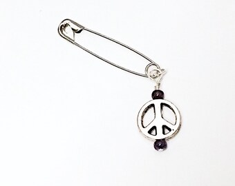 Solidarity Peace Safety Pin, Never Again Safety Pin Movement, March for our lives, Peace Pin, Inspirational Peace on Earth, rise, Peace
