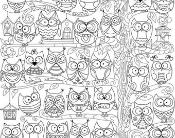 """Coloring poster """"Owl"""" size 60*60cm"""