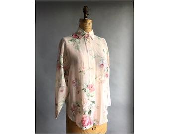 Sheer Rose Print Floral Blouse