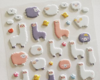 Alpaca Sheep Puffy Stickers, Animal Deco Stickers, Scrapbook Stickers, Planner Stickers, Craft Stickers, Sheep Lover Gift