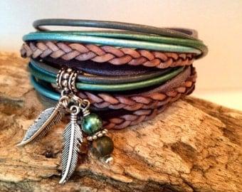 Bracelet,  Wrap Bracelet,Leather Wrap Bracelet,Boho Bracelet, gypsy wrap Bracelet,Custom, Tassel, Christian, Hipster, Teal, Grey, Brown