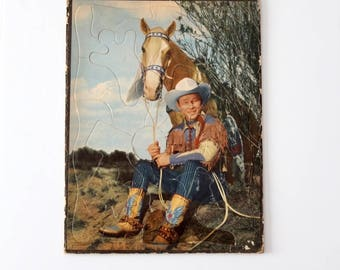 vintage Roy Rogers with Trigger Puzzle, 1950'S Rohr Co. western puzzle