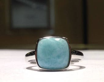 Cushion Shape Genuine Larimar Ring in 925 Sterling Silver with 14K White Gold Finish