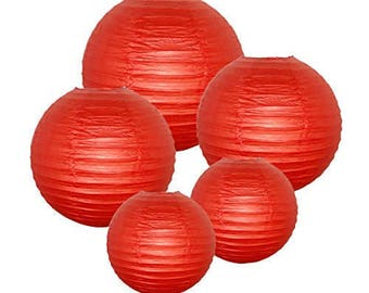 Just Artifacts® Dark Red Chinese/Japanese Paper Lanterns (Assorted (2) 8inch, (2) 12inch, (1) 16inch)-Décor for Weddings, Parties & Showers!