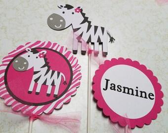 Zebra centerpiece , Its a girl centerpiece, its a girl decorations, its a girl jungle centerpiece, jungle decorations