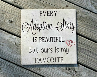 Adoption Gift, Adoption Story, Family Gift, Family Meaning Sign, Family Sign, Family Tile, Family Gift, Custom tile or wooden sign