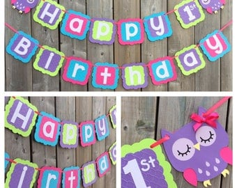 Owl Theme Birthday Banner - Owl 1st Birthday Banner - Pink Purple Green Blue Owl banner - Owl Happy 1st Birthday