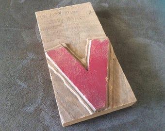 """Vintage Letterpress Letter """"V"""", wooden"""