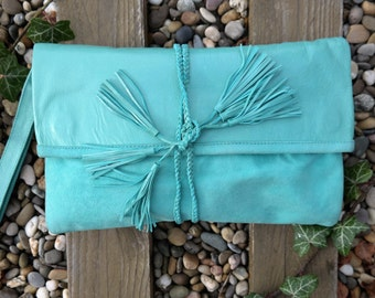 Clutch, Leather Clutch, wristles, pouch, handbag, tote, purse, fold over, suede, bright turquoise, basic, leather, boho, bohochic, handmade