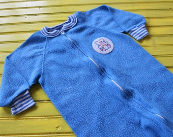 Vintage BOY Size 3T Blue Footie Pajamas, retro footie pajamas 3T, retro boy clothing 3T, vintage boy clothing 3T, retro pjs 3T, 3T pjs