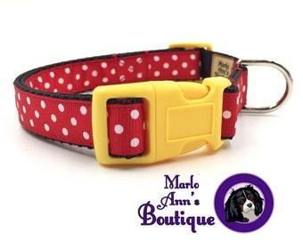 Dog Collar / Polka Dot Dog Collar / Red Dog Collar / Mickey Mouse / Minnie Mouse / Dog Collar & Leash Set / Dog Leash / Polka Dot Dog Leash