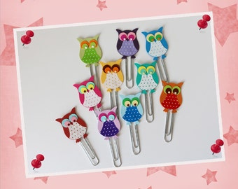 """10 x-paperclips - bookmark """"OWL"""""""