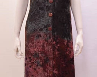Victorian Gothic Faux Velvet Tie Dye Sleeveless Hood Button Long Dress Burgundy Freesize 20 22 24 26