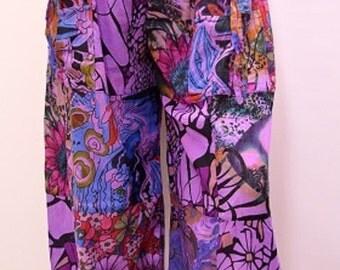 Plus Size Hippie Noho Retro Floral Patchwork Harem Pant Trouser Purple 18 20