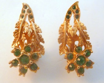 Vintage Green Rhinestone Floral Clip On Climbing Earrings.