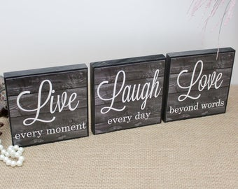 Live Laugh Love Wood Sign, Live Every Moment, Laugh Every Day, Love Beyond Words, Christmas Gift, Inspirational Decor, Yoga Studio Display
