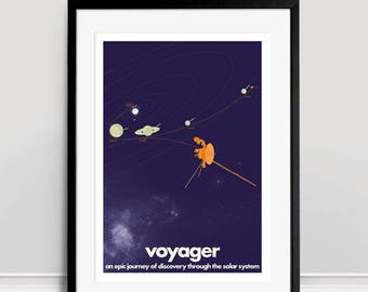 Voyager Space Probes A3 Giclee Print - Purple
