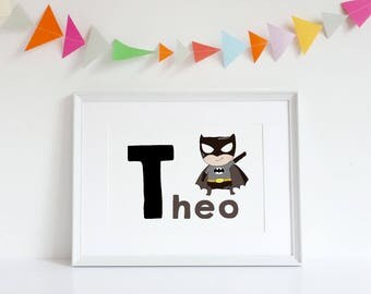 Personalised Superhero A4 Wall Art Print Child / Nursery Room
