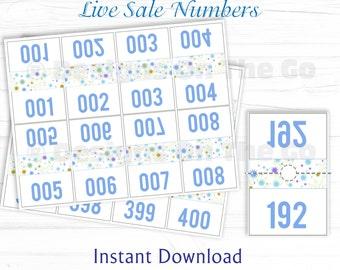 Clocon Live Sale Numbers, Printable, DIY Print, Facebook Live Sale, Periscope, Mirror Image, Backwards, Marketing, Branding, Printable