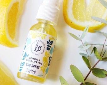Lemon & Eucalyptus| Bug Spray | Natural Insect Repellent | Handmade |  Deet Free | Natural Bug Spray | Travel Size | 1 Fl. Oz. Glass Bottle.