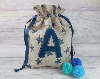 Personalised Star Drawstring Bag - Blue Star Bag - Linen Bag - Toy Bag - Gift Bag - Letter Bag - Initial Bag - Star Pouch - Birthday Gift