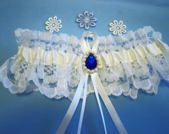 Ivory wedding garter bridal garter with Swarovski pearls and something blue