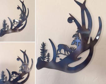 Deer Antler Scene Metal Wall Art Decor