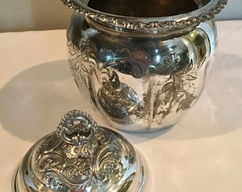 Shabby Chic Biscuit Jar Quadruple Plate Adelphi Silverplate Co New York