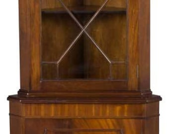 Vintage Single Door Mahogany Corner Cabinet