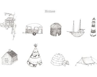Homes, drawing, illustration, New home, giclee print, limited edition
